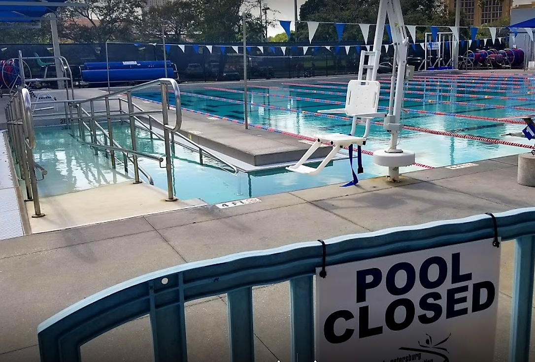 Pool closed sign with ramp