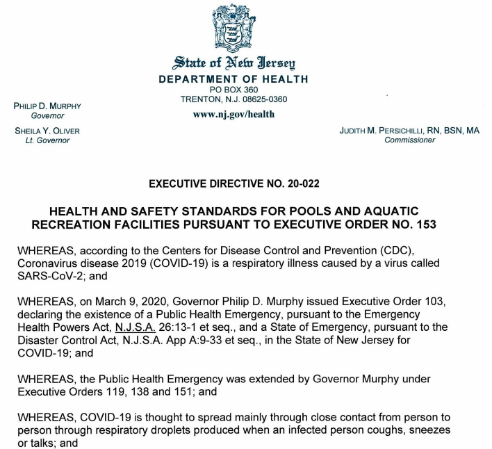 Proclamation from New Jersey about pools